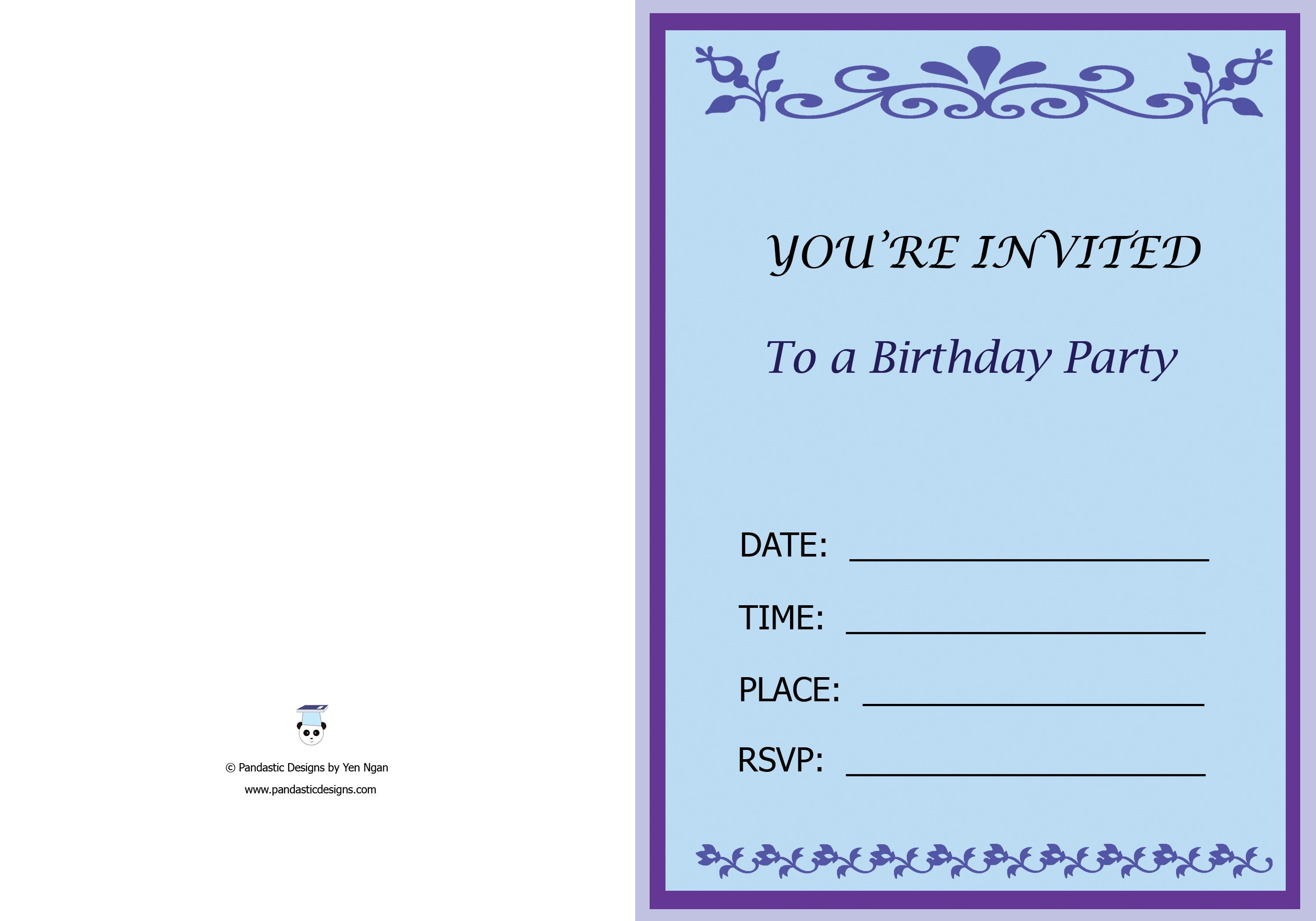 01 Birthday Party Invitation Card Pandastic Designs